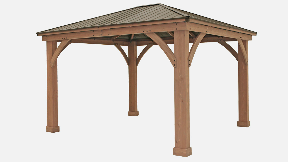 12 x 14 wood gazebo with aluminium roof yardistry for Pergola aluminum x