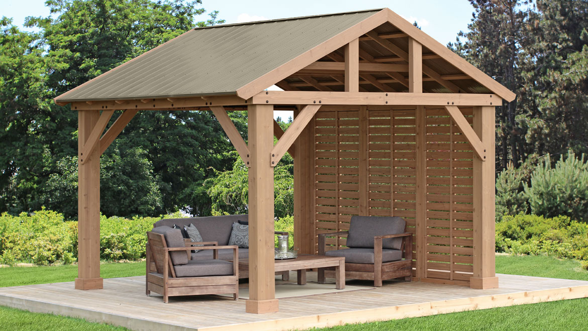 12 x 14 Wood Gazebo With Aluminium Roof  Yardistry Structures